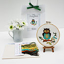 contents of Owl kit with finished cross stitch in hoop