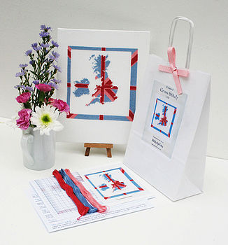 contents of Britannia kit with finished sampler