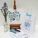 contents of Blue Heart kit with finished sampler
