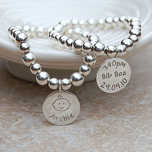 Personalised Silver New Mum Bracelet - gifts from younger children