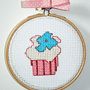 "Mini Blue Flower Cup Cake kit 4"" hoop"