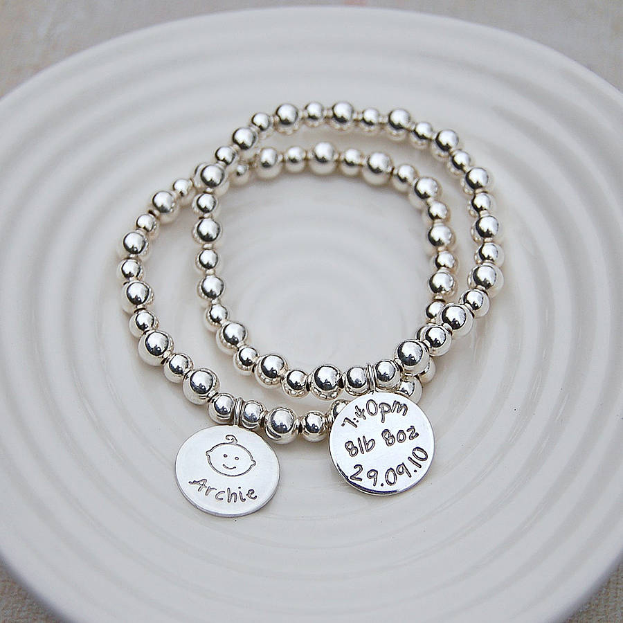 a63154520c707 Personalised Silver New Mum Bracelet