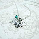 Personalised Bee and Clover Necklace with December crystal