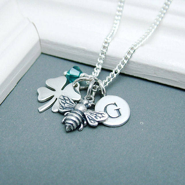 Personalised Bee And Lucky Clover Necklace