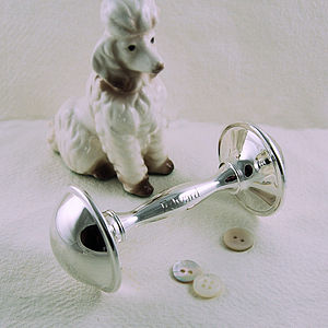 Personalised Silver Plated Rattle - baby care
