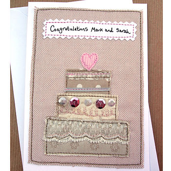 Embroidered Personalised Wedding Cake Card