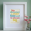 Personalised Little Dreamer Art Print