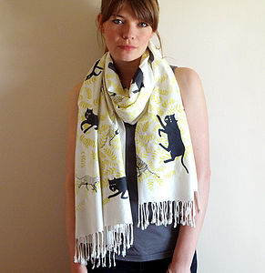 Cream Big Cats Hand Printed Scarf