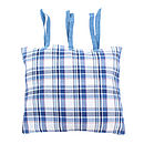 Large Blue Check Cotton Cushion Cover