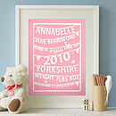 Personalised Bunting Birth Print: pretty pink