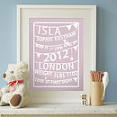 Personalised Bunting Birth Print: dusky pink