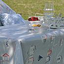 Oily Rag Beach Hut Oilcloth Tablecloth