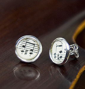 Music Score Sheet Stud Earrings - women's sale