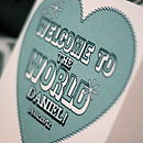 Personalised 'Welcome To The World' Baby Card
