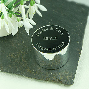 Personalised Round Trinket Box - jewellery storage