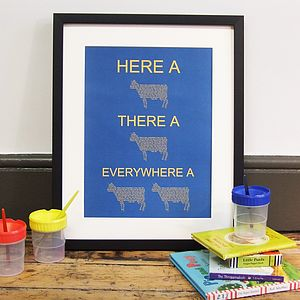 'Here A Moo, There A Moo' Nursery Rhyme Print - baby's room