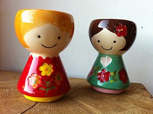 Pair Of Heidi And Helga Egg Cups - egg cups & cosies