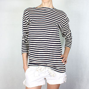 Cotton Striped Women's Sailor's Top - tops & t-shirts