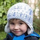 personalised people hat, mid-blue
