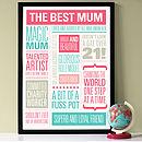 Personalised Best Mum Print