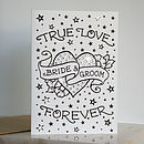 'Bride & Groom' Tattoo Print Diamante Card