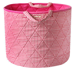 Pink Gingham Toy Storage Basket - baby & child sale