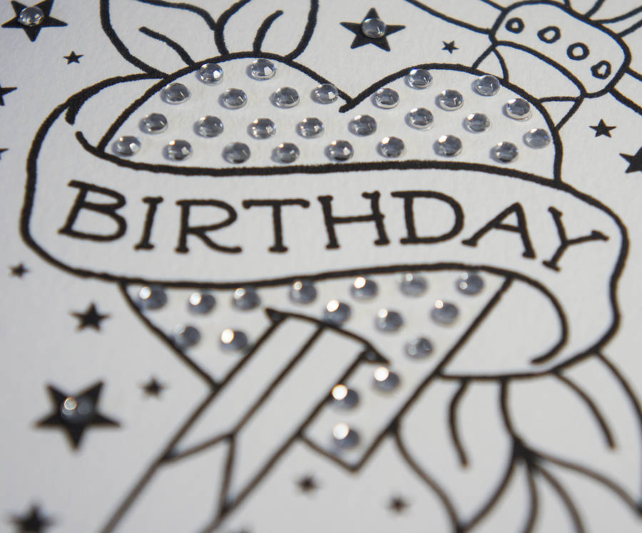 dagger birthday tattoo card with diamante by spdesign, Birthday card