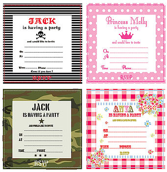 Personalised Party Invitations & Thank You's