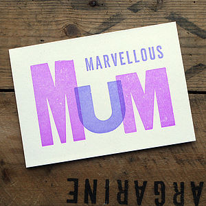 'Marvellous Mum' Letterpress Card - birthday cards