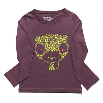 Organic Cat T-Shirt On Purple
