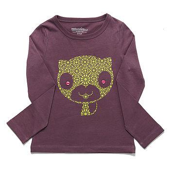 Organic Cat T-Shirt On Purple