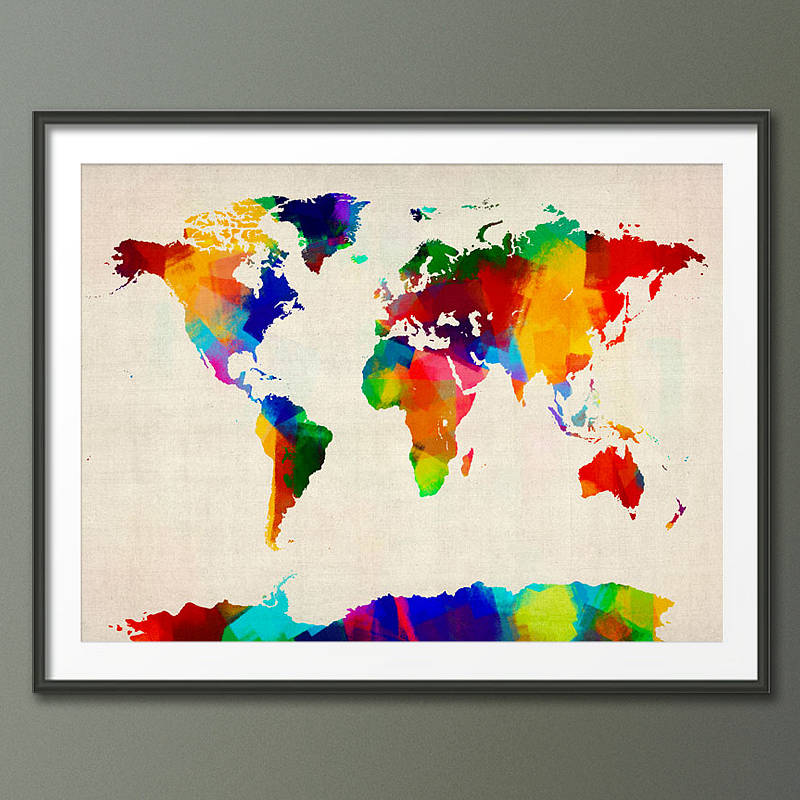 Sponge paint map of the world art print by artpause sponge paint map of the world art print gumiabroncs Images