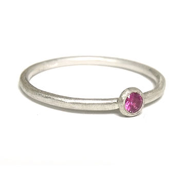 Pink Sapphire And Sterling Silver Ring