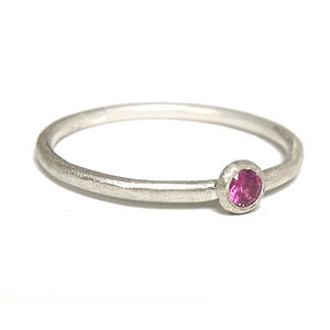 Pink Sapphire And Sterling Silver Ring - rings
