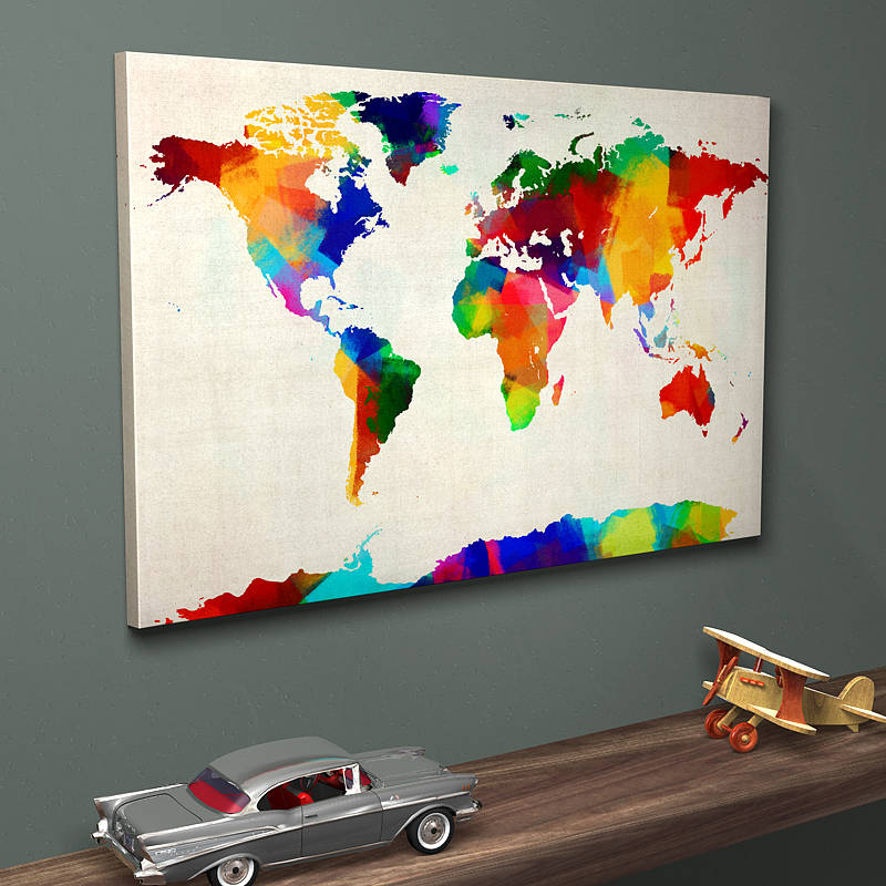 Sponge paint map of the world art print by artpause ready to hang canvas print gumiabroncs