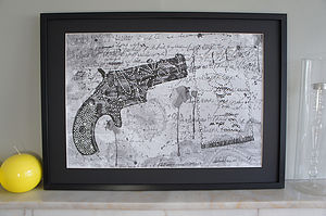 Bang Gun Framed Diamante Embellished Artwork - mixed media & collage