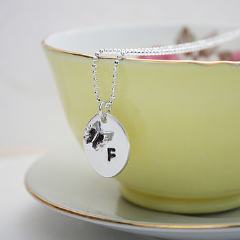 Personalised Butterfly Silver Necklace