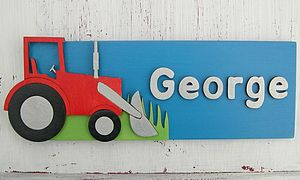 Personalised Wooden Door Sign: Tractor - baby & child
