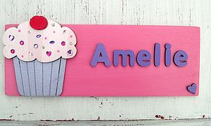 Personalised 3D Cupcake Door Plaque - children's room accessories