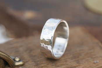 Hammered Personalised Silver Ring