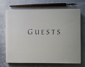 Luxury Ivory Leather Guest Book