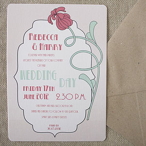 Art Deco Flower Wedding Stationery - wedding stationery
