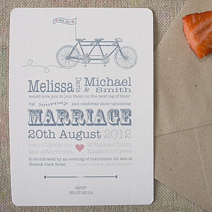 Bicycle Made For Two Wedding Stationery - invitations