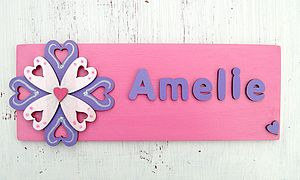 Personalised 3D Flower Door Plaque - children's room