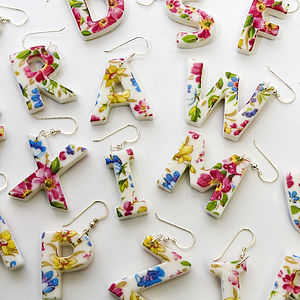 Porcelain Letter Earrings - earrings