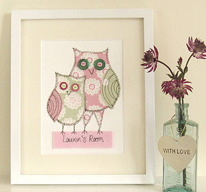 Personalised Owl Embroidered Framed Artwork - mixed media pictures for children