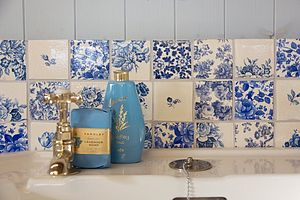Blue Patchwork Tiles - bathroom