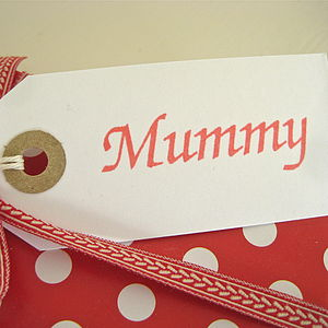 'Mummy' Gift Tag - ribbon & wrap