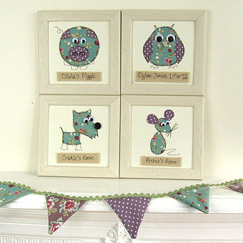 Personalised Animal Embroidered Framed Artwork