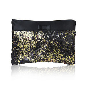 Angelique Gold Sequin Clutch - evening bags